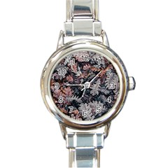 Leaf Leaves Autumn Fall Brown Round Italian Charm Watch