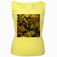 Leaf Leaves Autumn Fall Brown Women s Yellow Tank Top