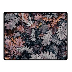 Leaf Leaves Autumn Fall Brown Fleece Blanket (Small)