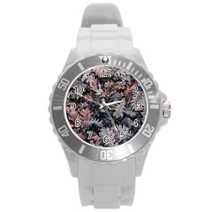 Leaf Leaves Autumn Fall Brown Round Plastic Sport Watch (l)