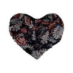 Leaf Leaves Autumn Fall Brown Standard 16  Premium Heart Shape Cushions