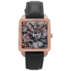 Leaf Leaves Autumn Fall Brown Rose Gold Leather Watch