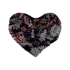 Leaf Leaves Autumn Fall Brown Standard 16  Premium Flano Heart Shape Cushions