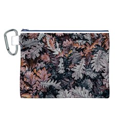 Leaf Leaves Autumn Fall Brown Canvas Cosmetic Bag (l)
