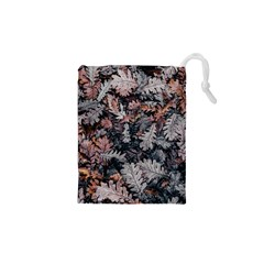 Leaf Leaves Autumn Fall Brown Drawstring Pouches (XS)