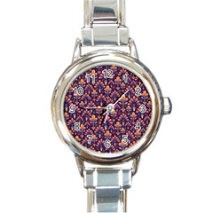 Abstract Background Floral Pattern Round Italian Charm Watch