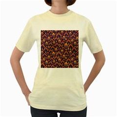 Abstract Background Floral Pattern Women s Yellow T-Shirt