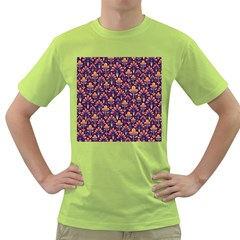 Abstract Background Floral Pattern Green T-Shirt
