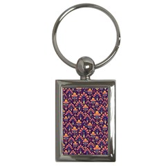 Abstract Background Floral Pattern Key Chains (Rectangle)