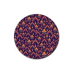 Abstract Background Floral Pattern Rubber Round Coaster (4 Pack)