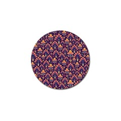 Abstract Background Floral Pattern Golf Ball Marker