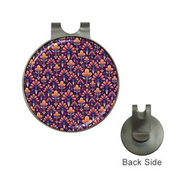 Abstract Background Floral Pattern Hat Clips with Golf Markers