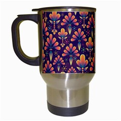 Abstract Background Floral Pattern Travel Mugs (White)