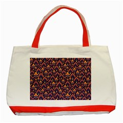 Abstract Background Floral Pattern Classic Tote Bag (Red)