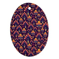 Abstract Background Floral Pattern Oval Ornament (two Sides)