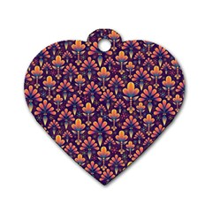 Abstract Background Floral Pattern Dog Tag Heart (one Side)