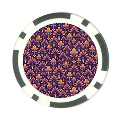 Abstract Background Floral Pattern Poker Chip Card Guard