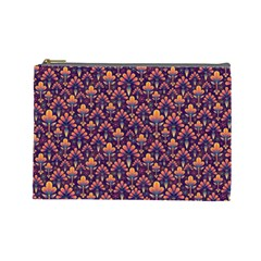Abstract Background Floral Pattern Cosmetic Bag (large)