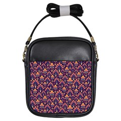 Abstract Background Floral Pattern Girls Sling Bags