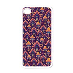 Abstract Background Floral Pattern Apple Iphone 4 Case (white)