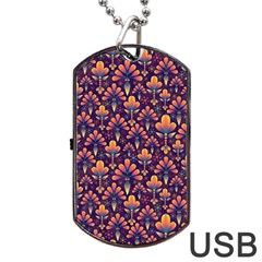 Abstract Background Floral Pattern Dog Tag USB Flash (One Side)