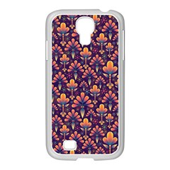 Abstract Background Floral Pattern Samsung GALAXY S4 I9500/ I9505 Case (White)