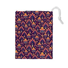Abstract Background Floral Pattern Drawstring Pouches (Large)