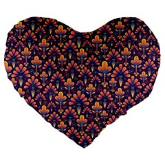 Abstract Background Floral Pattern Large 19  Premium Flano Heart Shape Cushions
