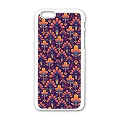 Abstract Background Floral Pattern Apple Iphone 6/6s White Enamel Case