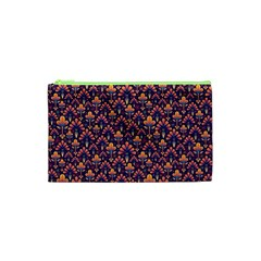 Abstract Background Floral Pattern Cosmetic Bag (xs)