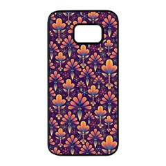 Abstract Background Floral Pattern Samsung Galaxy S7 Edge Black Seamless Case