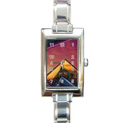 The Rainbow Bridge of a Thousand Fractal Colors Rectangle Italian Charm Watch