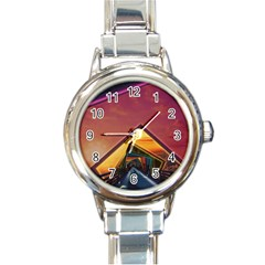 The Rainbow Bridge of a Thousand Fractal Colors Round Italian Charm Watch