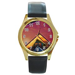 The Rainbow Bridge of a Thousand Fractal Colors Round Gold Metal Watch