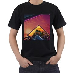 The Rainbow Bridge of a Thousand Fractal Colors Men s T-Shirt (Black) (Two Sided)