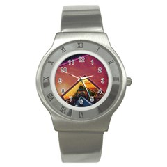 The Rainbow Bridge of a Thousand Fractal Colors Stainless Steel Watch
