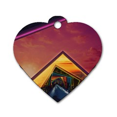 The Rainbow Bridge of a Thousand Fractal Colors Dog Tag Heart (One Side)