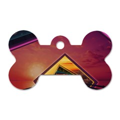 The Rainbow Bridge of a Thousand Fractal Colors Dog Tag Bone (Two Sides)