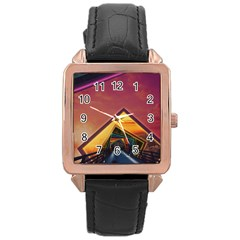 The Rainbow Bridge of a Thousand Fractal Colors Rose Gold Leather Watch