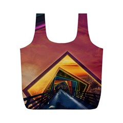 The Rainbow Bridge of a Thousand Fractal Colors Full Print Recycle Bags (M)