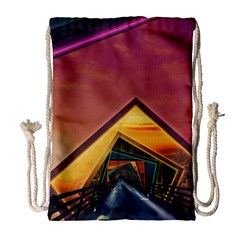 The Rainbow Bridge of a Thousand Fractal Colors Drawstring Bag (Large)
