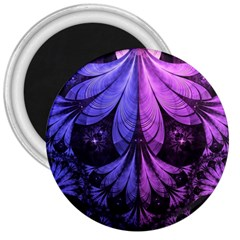 Beautiful Lilac Fractal Feathers of the Starling 3  Magnets