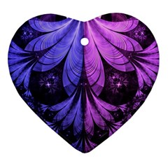 Beautiful Lilac Fractal Feathers of the Starling Ornament (Heart)