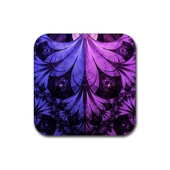 Beautiful Lilac Fractal Feathers of the Starling Rubber Square Coaster (4 pack)