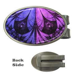 Beautiful Lilac Fractal Feathers of the Starling Money Clips (Oval)