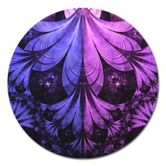 Beautiful Lilac Fractal Feathers of the Starling Magnet 5  (Round)