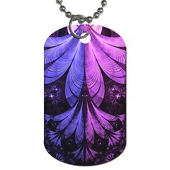 Beautiful Lilac Fractal Feathers of the Starling Dog Tag (Two Sides)