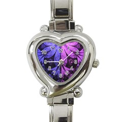 Beautiful Lilac Fractal Feathers Of The Starling Heart Italian Charm Watch