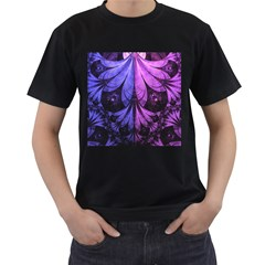 Beautiful Lilac Fractal Feathers of the Starling Men s T-Shirt (Black) (Two Sided)
