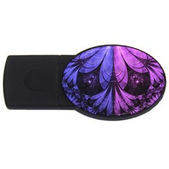 Beautiful Lilac Fractal Feathers of the Starling USB Flash Drive Oval (4 GB)